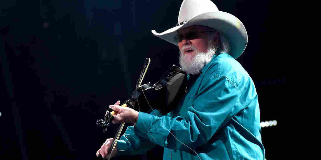 Charlie Daniels on stage at Nissan Stadium in Nashville during CMA Fest 2016.