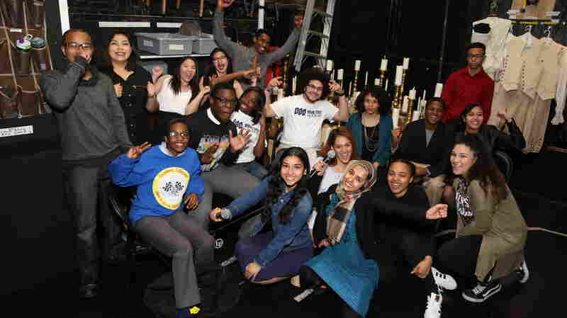 These are just a few of the 1,300 New York City high school students who gathered for a special matinee performance of Hamilton at the Richard Rodgers Theatre on May 11, 2016.