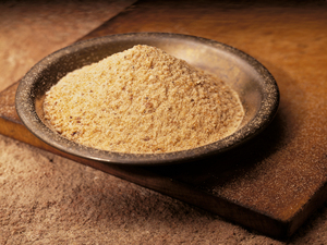 A dish full of ground asafoetida, or hing, as it is known in India.