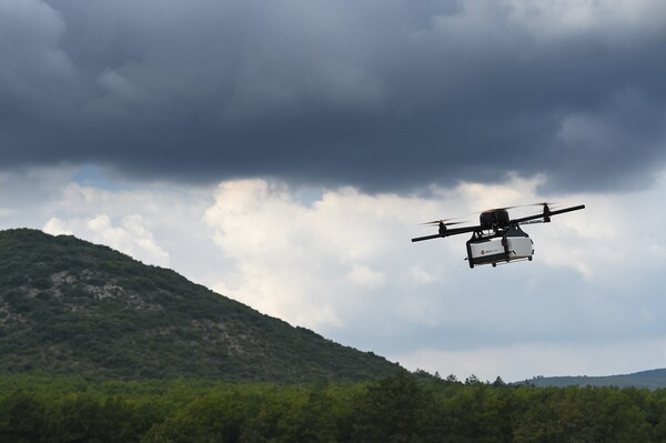 A Geopost drone flying in southeastern France during a presentation of a prototype package delivery drone.