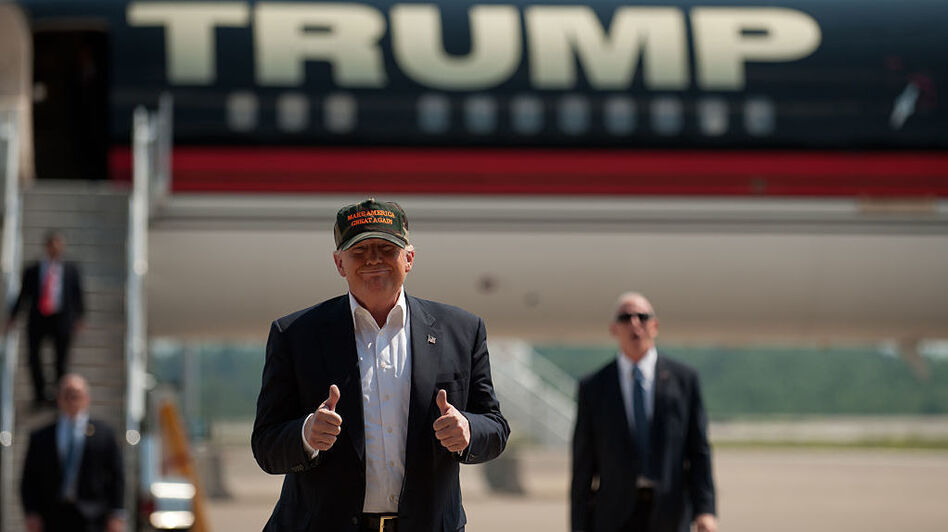 Donald Trump arrives to speak to supporters at a rally at Atlantic Aviation on June 11 in Moon Township, Pa. (Jeff Swensen/Getty Images)