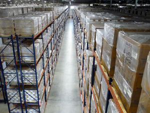 Stack of boxes containing critical supplies stretch almost as far as the eye can see in this Strategic National Stockpile warehouse.