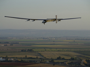 Solar Impulse 2, piloted by Swiss pilot Bertrand Piccard, prepares to land in Seville, Spain, on Thursday.