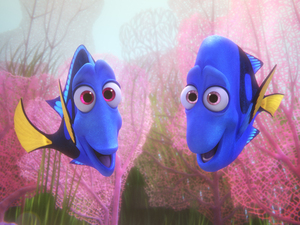 Jenny (Diane Keaton) and Charlie (Eugene Levy) in Finding Dory.