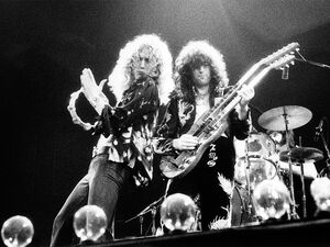 Jimmy Page (right) and Robert Plant (left) of Led Zeppelin performing in the U.K. in 1975.