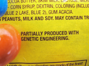 "A new disclosure statement on a package of peanut M&Ms candy notes they are ""partially produced with genetic engineering."""