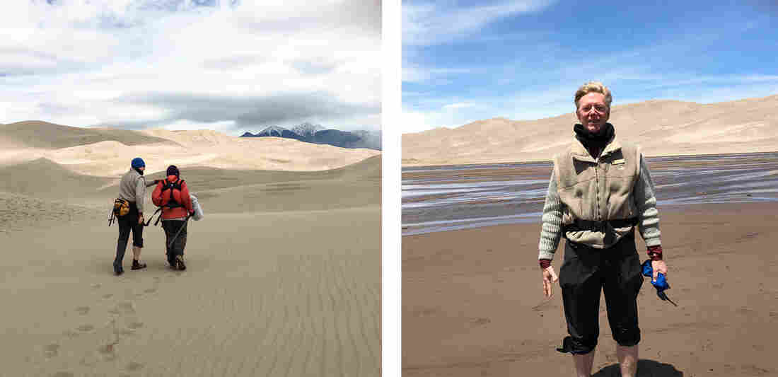 "(Left) Kurt Fristrup and Bill McQuay record the sounds of the Great Sand Dunes. (Right) Fristrup says wild sounds trigger ""the small moments that can really connect you with the park."""