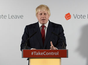 Boris Johnson, the former mayor of London and a leading proponent for Britain's departure from the EU, holds a press conference in London on Friday. Johnson is considered a leading contender to replace Prime Minister David Cameron, who announced Friday that he will be stepping down by October