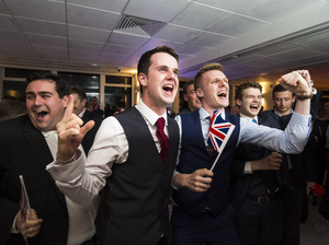 People at the Leave.EU campaign's referendum party at Millbank Tower in London react to a regional EU referendum result on Thursday.