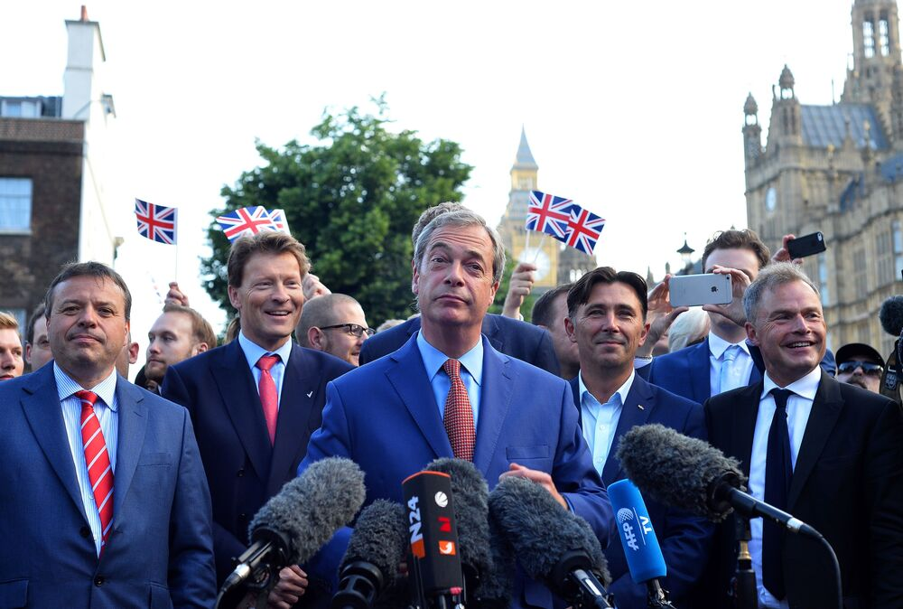 Nigel Farage, leader of the United Kingdom Independence Party (UKIP), a vocal supporter of the
