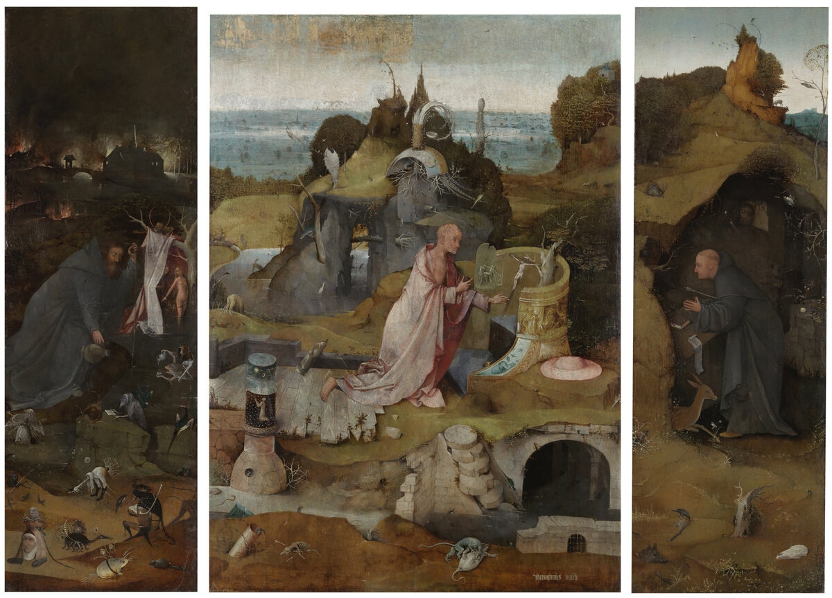 Bosch's Hermit Saints Tryptic shows St. Anthony, St. Jerome and St. Giles in prayer. Click here for a closer look.