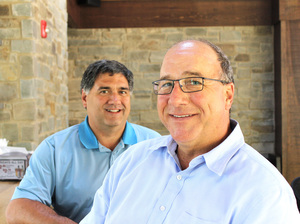 "Pat Deon (right), a Pennsylvania Turnpike commissioner, and attorney Albert Mezzaroba, sit at the Puss N Boots tavern in Bucks County. Both are Republicans. In this election based on change, Mezzaroba says he doesn't understand why. ""Things aren't that bad,"" he says. ""I don't know why everybody thinks they're so terrible."""