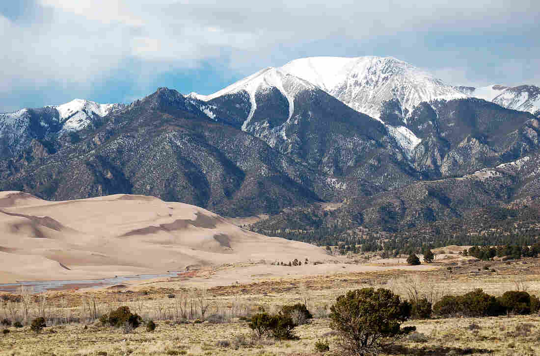 Great Sand Dunes National Park sits at the base of the Colorado Rockies. The dunes soak up sound like a sponge, but human noise can still be heard.