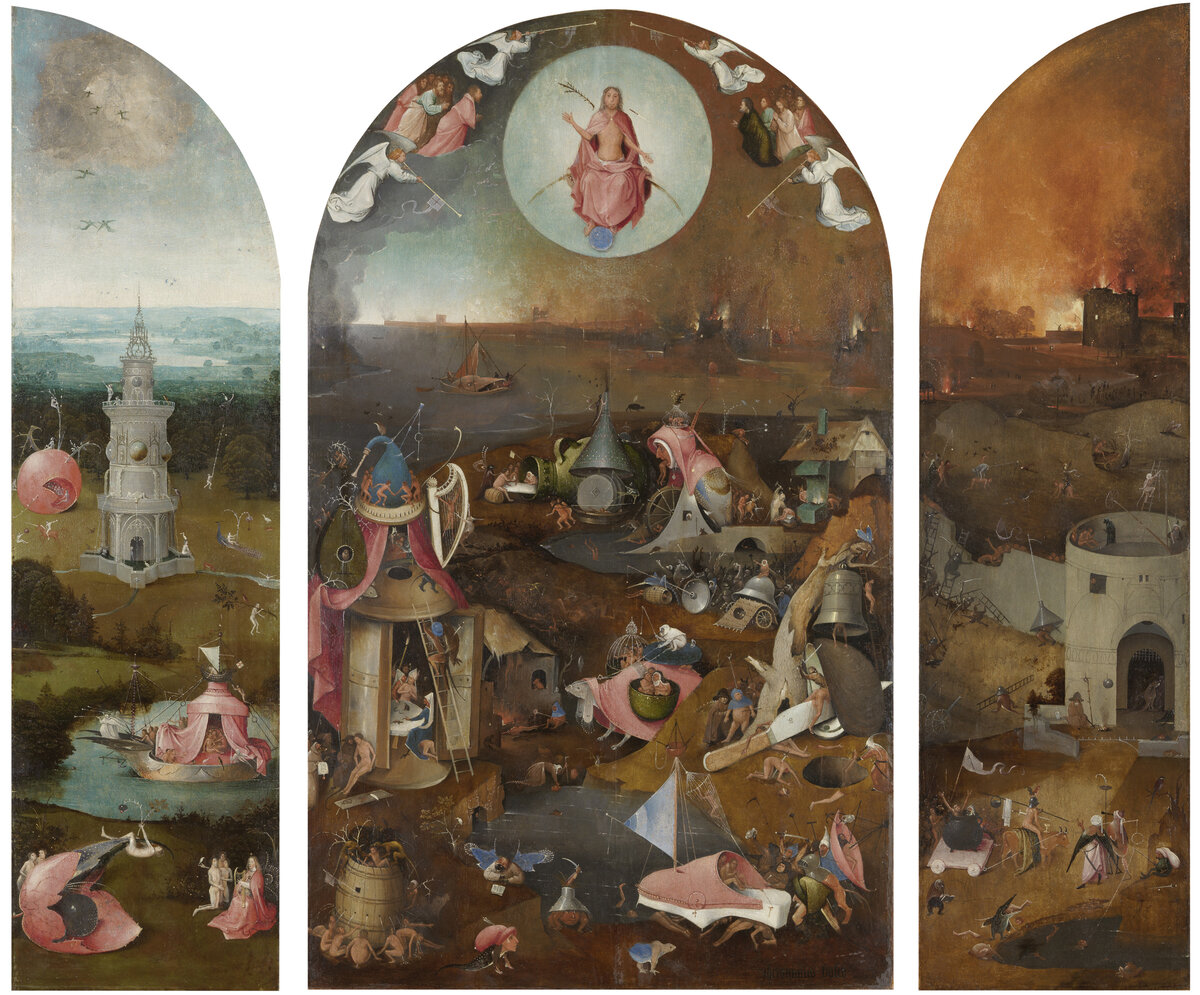 Bosch's The Last Judgement is one of several paintings that bear a knife maker's mark from Bosch's home town. Click here for a closer look at the painting.