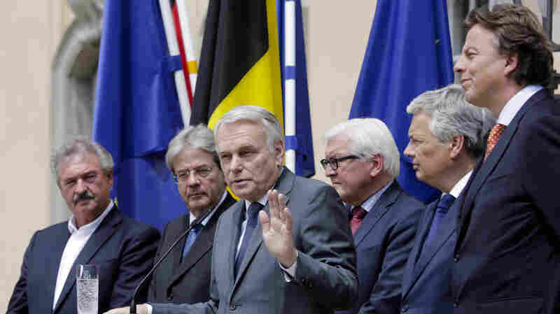 The Foreign Ministers from EU's founding six countries — Jean Asselborn from Luxemburg, Paolo Gentiloni from Italy, Jean-Marc Ayrault from France, Frank-Walter Steinmeier from Germany, Didier Reynders from Belgium and Bert Koenders from the Netherlands (left to right) — brief the media after a meeting on the so-called Brexit in Berlin, Germany on Saturday.