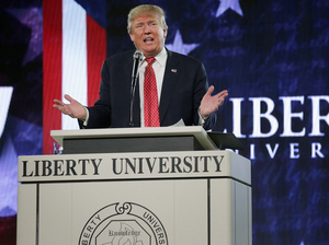 Donald Trump delivers the convocation at Liberty University on Jan. 18. The flamboyant, thrice-married mogul has never been an easy fit with the religious right.