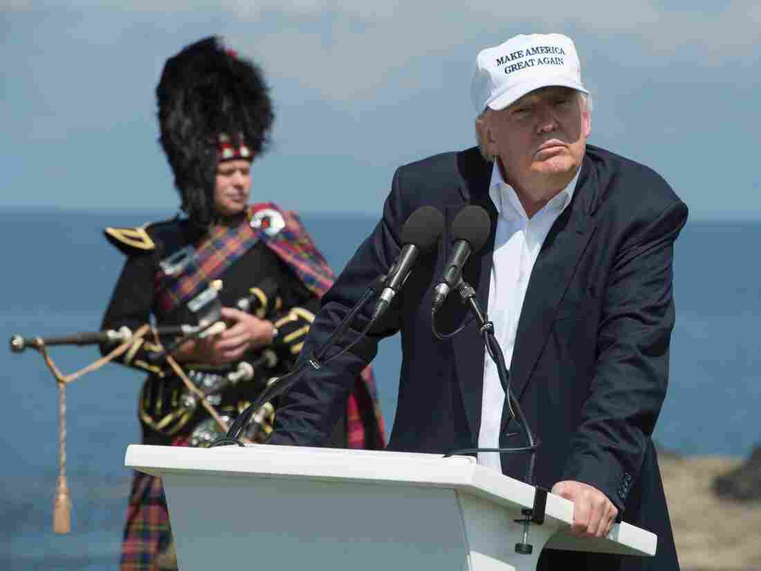 "Donald Trump delivers a speech as he officially opens his Trump Turnberry hotel and golf resort in Scotland on Friday. Donald Trump hailed Britain's vote to leave the EU as ""fantastic"" shortly after arriving in Scotland."