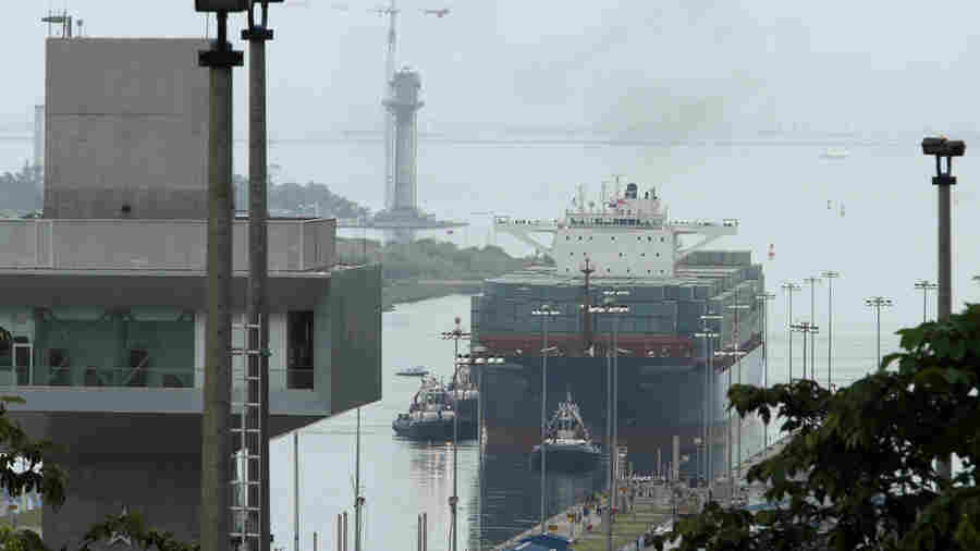 The Neopanamax cargo ship, Cosco Shipping Panama, approaches the new Agua Clara locks, part of the Panama Canal expansion project, near the port city of Colon, Panama, on Sunday.