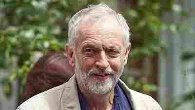 British oppositon Labour Party Leader Jeremy Corbyn leaves his home in London on Sunday.