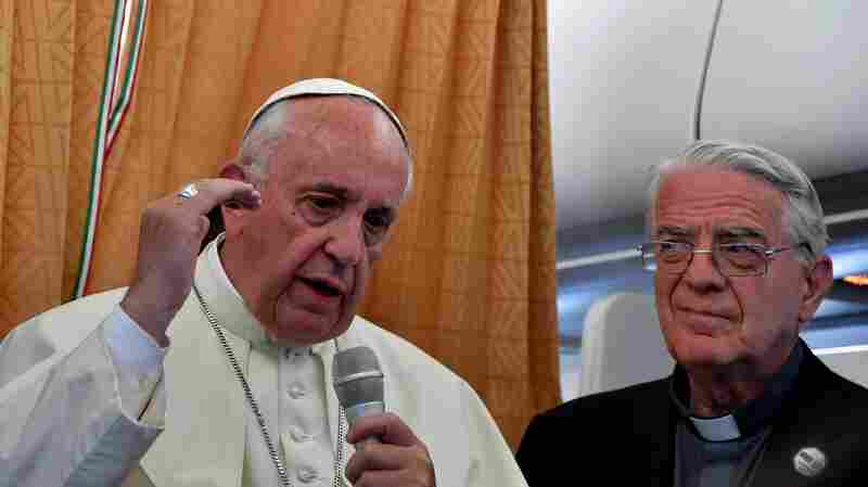 Pope Francis talks to journalists on his flight back to Rome on Sunday, following a visit to Armenia.