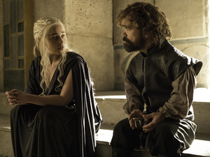 Emilia Clarke, left, and Peter Dinklage appear in Sunday's episode of HBO's Game of Thrones.