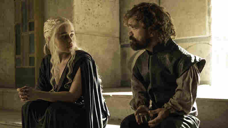 Emilia Clarke (left) and Peter Dinklage appear in Sunday's episode of HBO's Game of Thrones.