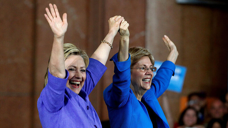 Image result for liz warren and hillary hugging