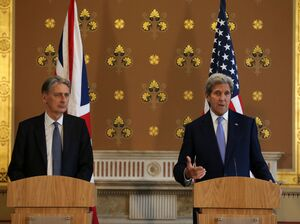 "British Foreign Secretary Philip Hammond (left) and U.S. Secretary of State John Kerry hold a joint press conference after meeting in London on Monday. The U.S. ""could not ask for a better friend and ally,"" Kerry said."