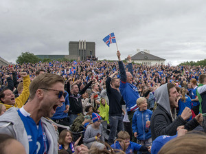Iceland's victory in the UEFA Euro 2016's Round of 16 set off celebrations in Reykjavik.
