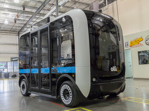 Olli is an autonomous electric shuttle bus by Local Motors test-running at National Harbor, south of Washington, D.C.