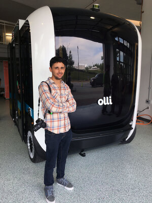 Edgar Sarmiento won the Local Motors challenge to design an urban public transportation system. His self-driving electric minibus design eventually became this vehicle called Olli.