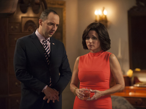 Fail to the Chief: Tony Hale and Julia Louis-Dreyfus in the fifth season finale of HBO's Veep.
