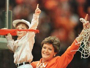 Tennessee Head Coach Pat Summitt of Tennessee celebrates with her son Tyler after the Lady Volunteers defeated Georgia in the championship game of the NCAA Women's Final Four in 1996.