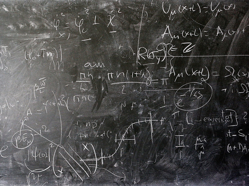 A detailed view of the blackboard with theoretical physics equations at The European Organization for Nuclear Research commonly know as CERN on April 19 in Geneva, Switzerland.