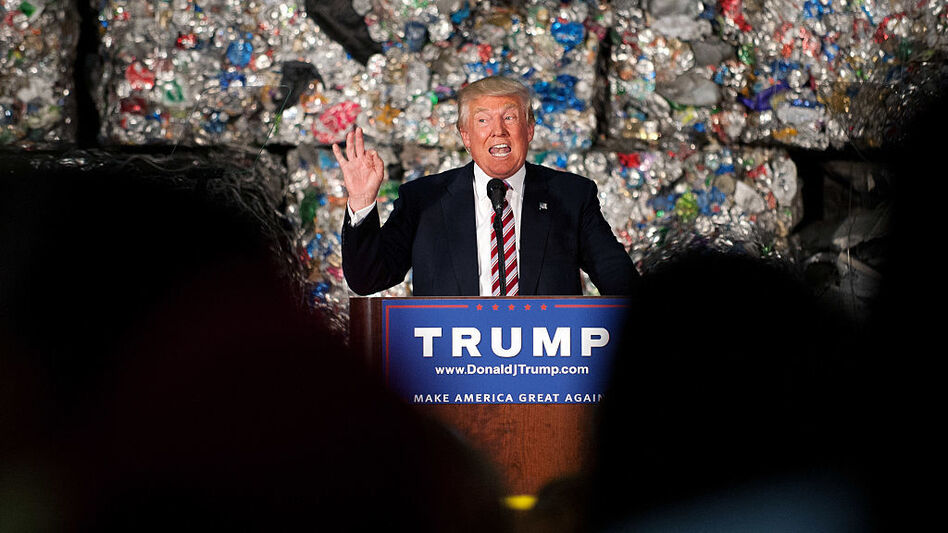 Donald Trump gives a policy speech during a campaign stop in Monessen, Pa., on Tuesday. (Jeff Swensen/Getty Images)