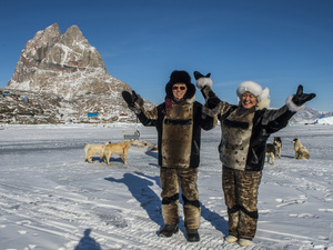 U.N. Secretary General Ban Ki-moon (left), and Greenland's then-Prime Minister Aleqa Hammond stand on the ice outside the city of Uummannaq, north of the Arctic Circle in 2014. Greenland held a referendum in 1982 and voted to leave the European Economic Community, the forerunner of the European Union. Greenland's leaders say they believe it was the right decision.