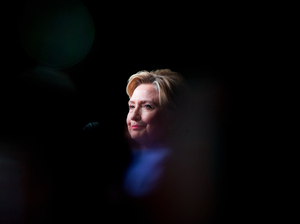 Democratic presidential candidate Hillary Clinton pauses while speaking at a Rainbow PUSH Women's International Luncheon on Monday.