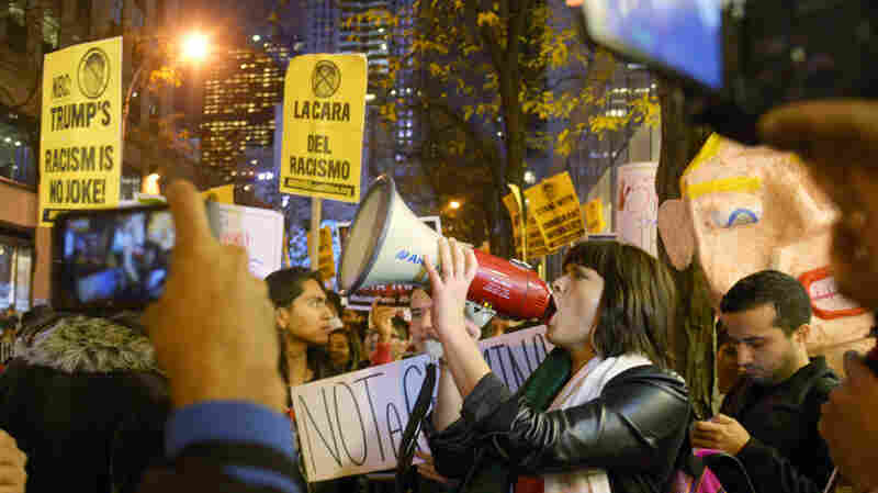 Protesters against Republican presidential candidate Donald Trump in New York city on Nov. 7, 2015.