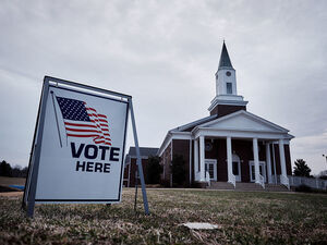 Residents vote in the South Carolina Republican presidential primary election at the Cross Roads Baptist Church in Greer, South Carolina, on Feb. 20.