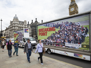 "The United Kingdom Independence Party's ""Breaking Point"" EU referendum campaign poster was deemed so offensive and reminiscent of Nazi propaganda that even the official Leave campaign condemned it."