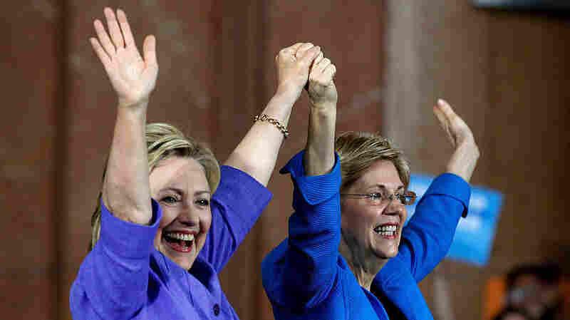 Democratic presidential candidate Hillary Clinton (left) and Sen. Elizabeth Warren campaigning in Cincinnati, Oh.