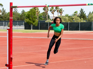 Vashti Cunningham practices the high jump at the University of Nevada Las Vegas's Sheila Tarr Track on June 21. Cunningham, 18, set a world junior record in March and is expected to make the U.S. Olympic team this weekend.
