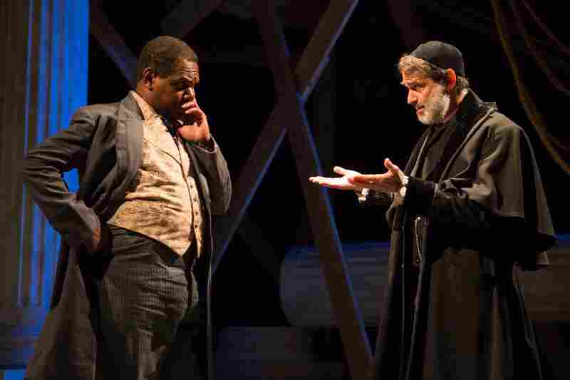 "Antoine (Craig Wallace, left) is District Merchants' Antonio, whose ""pound of flesh"" lender Shylock (Matthew Boston) is after."