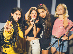 Hinds at the World Cafe performance studio.