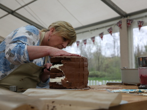 Sandy works on her cake in an episode of The Great British Baking Show, which begins its second season on Friday.