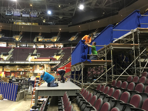 Workers prepare a camera platform inside Quicken Loans Arena in preparation for the Republican National Convention on Tuesday, June 28, 2016, in Cleveland.