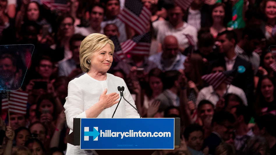 Hillary Clinton, heartened by her supporters' reception, after voting on the June 7th, the night it became clear she would be the first woman nominee of a major-party ticket. (Drew Angerer/Getty Images)