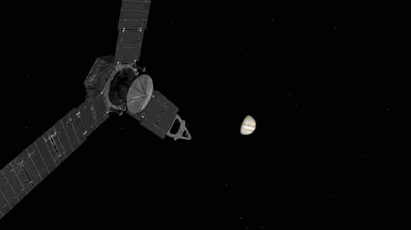 This illustration show's NASA's Juno mission approaching Jupiter. Juno used distant stars to chart its course across the void.