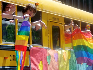 Gay-straight alliance school bus at Seattle Pride, 2008.
