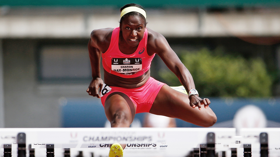 Sharon Day-Monroe competes in the 100-meter hurdles portion of the heptathlon at the U.S. Track & Field Championships in Eugene, Ore., in 2015. She competes in the U.S. Olympic Trials this weekend as she tries to make her third consecutive Olympic team. (Getty Images)